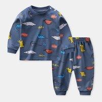 Pijama de outono para crianças manga longa mistura de algodão terno dos desenhos animados roupas animais babamas conjunto de pijama de Natal 1802 Z2