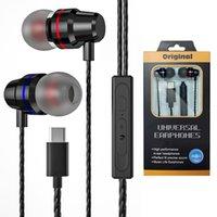 معدن نوع الأذن C USB C سماعات الرأس السلكية سماعة مع ميكروفون باس ستيريو باس لهواتف هواوي xiaomi oneplus oppo الهاتف الخليوي