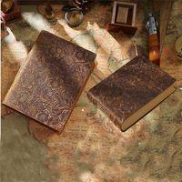 소박한 수제 노트북 빈티지 가죽 바인딩 된 저널 메모장 크래프트 빈 종이 400 페이지 스케치북 원래 책 1xBJK2104