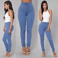 Venta de liquidación Jeans de cintura alta para mujeres Sexy Slim Stretch Denim Jean Mujer señoras Elástico Plus Tamaño Pantalones de lápiz flaco Mujeres