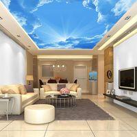 배경 화면 천장 벽지 3D 푸른 하늘 종이 벽화 거실 침실 어린이 두꺼운 자체 접착제 / 실크 벽지