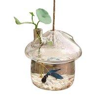 Pilzförmige hängende Glaspflanzer Vase Rumble Tank Terrarium Container Home Garten Dekor Vasen