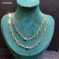 Chains VOJEFEN Minimalist 18K Real Gold 2mm Geometric Oval Necklace Triangle Dainty Paperclip Chain Jewelri For Women Men