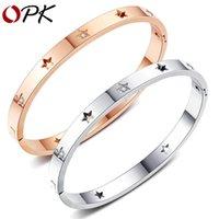 h ornament hollow Star Stainless Steel Diamond Men's and women's bracelet Pentagram titanium LEZE