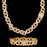 Pendant Necklaces Luxury Zircon CZ Hip Hop Miami Cuban Link Chain 14mm Infinity Bracelet Men Necklace Drop Black Jewelry Bling