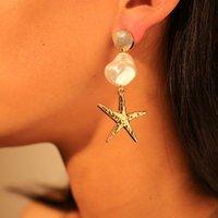 Solememo Fashion Gold Starfish Simulée Pearl Drop Boucles d'oreilles Femmes Filles Mignon Filles De Mariage Bijoux En Gros E5690 Dangle lustre