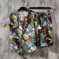 Men's Tracksuits Mens Set Short Sleeve Hawaiian Shirt And Shorts Summer Casual Floral Beach Two Piece Suit 2021 Fashion Men Sets S-5XL