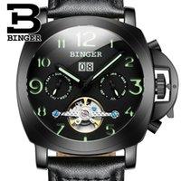 Schweiz Herrenuhr Binger Automatische mechanische Uhren Multifunktions-militärischer Haltestelle Leuchtende Mannuhr B1169-4 Armbandusche Armbanduhren
