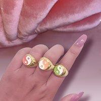 Flatfoosie высокого качества Bagua Yin Yang Tai Chi Rings для женщин Золото Золото Серебро Цвет Сердце Геометрический Металл 2021 Модные Ювелирные Изделия
