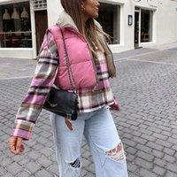 Puwd mulher casual rosa luz curta baiacu colete 2021 primavera moda senhoras morna outwear feminino streetwear down tank