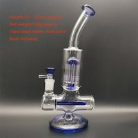 2021 Great design hookah glass bong with Blue fumed and body craft 12 inch