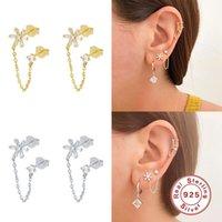 Sterling Silver Stud Earrings For Women Geometric CZ Zircon Piercing Earring Earings Chain Tassel Jewelry Pendientes