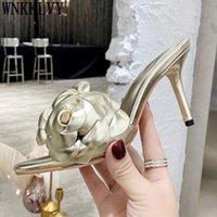 80% di sconto sul negozio online oro rosso petalo tacco alto tacco a fiore pantofole da donna in pelle aperta punta formale scivolili estate sexy partito scarpe da festa femminile flipflops