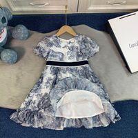 소녀의 짧은 소매 드레스 브랜드 그레이 컬러 디자이너 가을 수입 넥타이 염색 불규칙 그물 소녀 치마 크기 110-160