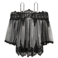 men's and womens Clothing See Through Lace Black Off Sexy Shoulder Bralet Lingerie Bra and Pantie Set Stripe Sleepwears XHSZ0O