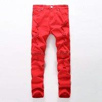 Toptan-Yeni Erkekler Yırtık Kot Kırmızı Siyah Beyaz Fermuar Hip Hop Jeans Erkek Punk Kaya Sıkıntılı Biker Kot Elastik Denim Pantolon Artı Boyutu