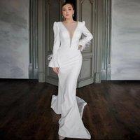 trajes de boda mujer Mermaid Wedding Dress V Neck Long Sleeves Middles East Bridal Party Gowns Custom robe de mariee sexy