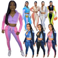Women's Splicing Contrast Pants Tracksuits Sexy Exposed Umbilicus Sports Autumn Suit Fashion Zipper Casual Two-piece Set