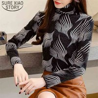 Autumn Fashion Winter Warm Long Sleeve Korean Women Blouse and Tops Print Turtleneck Ladies Plus Velvet Shirts 7720 50 210506