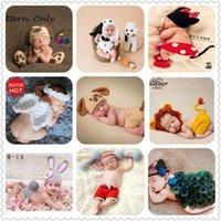 Newborn Baby милый вязание крючком вязаный костюм опорные наряды фото фотография детская шляпа фото реквизит новорожденных девочек милый наряд 0-3 м 1232 y2