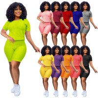 Summer Women Tracksuits 2 Pcs Yoga Outfits Short Sleeve T-Shirt Sexy Shorts Set Sportswear Jogger Suits Solid Color Gym Clothes Plus Size