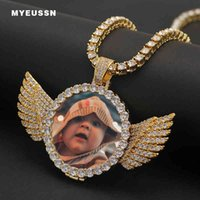 Custom Photo Medallions Copper Angel Wings Pendant Necklace Men Iced Out Shiny Crystal Cubic Zircon Tennis Chain Hip Hop Jewelry X0509