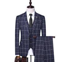 (Jaquetas + colete + calça) 2021 homens uxed plaid business blazers / macho magro algodão puro de três peças terno / homem noivo vestido s-4xl homens ternos blazer