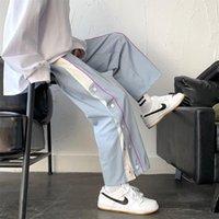 Pantalones para mujer Capris Breasted Deportes Deportes Femeninos Estudio de estilo coreano suelto BF Junior y Senior High School Color Matching Rial
