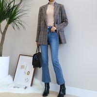 Vintage Zweireiher karierte Frauen Blazer Taschen Jacken weibliche Retro- Anzüge Mantel Feminino Blazer Oberbekleidung 210419