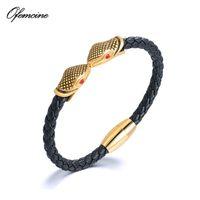 Charm Bracelets Luxury Genuine Leather Double Snake Bracelet For Men Stainless Steel Punk Bangles Mens Jewellery Japanese 2021