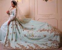 Moroccan Kaftan Wedding Dresses with Overskirt Train Gold Lace Embroidery Long Sleeve Dubai Saudi Arabia Princess Wedding Gown