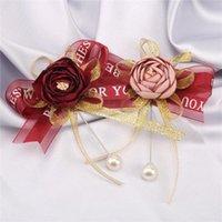 Pivoine fleur Boutonniere Bowknot Pin Mens de mariage Broche à la main Broche Broche Broche Broomsmen Groom Corsage et Boutonnières x108 Décoratif