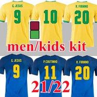 Большой размер S-4XL 2021 Футбол Джерси Бразил Футбольные футболки 21 22 Neres Camisa Futebol Бразилия Copa America CamiSeta de Fútbol Cuatinho Фифино Иисус Рубашка