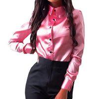 Mujer Blusa Otoño Fabala Tops Button-Down Turn-Down Colllar CAMISETA Oficina Oficina de manga larga Señoras Satin Satin Elegantes Blusas de las mujeres Camisas