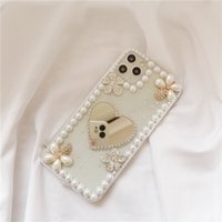 Lady Creative Pearl TPU Mobile Phone Cases Bling Luxury Diamond Makeup Mirror Back Cover for Apple 7 8PLUS X 11 12 PRO MAX