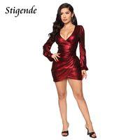 Stigende Women Sexy Deep V Neck Night Club Party Dress Elegant Back Zipper Bodycon Mini Fashion Long Sleve Short Dresses Casual