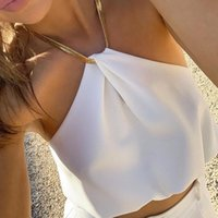 Women's Tanks & Camis Sexy Metal Chain Halter Top Holiday Summer Loose Backless Cute Short Vest 2021 Clothing Y2k Tops