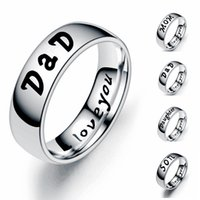 6mm Stainless Steel Dad Rings for Men Mom Son Daughter Wedding Band Classic Ring Daddy Birthday Gift