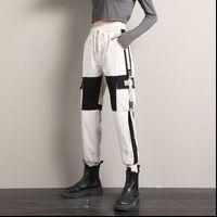 Streetwear Cargo Casual Joggers Women Pant Black High Waist Loose Trousers Ribbons Korean Style Ladies