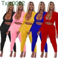 Women Tracksuits 2 Piece Pants Sets Designer Solid Color Sexy Cross Cut Leisure Long Sleeve Leggings Outfits Plus Size Clothes 5 Colours