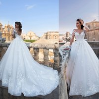 2021 Elegent Summer Wedding Dresses Bridal Gowns Jewel Neck Boho Beach Lace Appliques Beads A Line Long Sleeves Illusion Robe de mariee Sweep Train Open Back