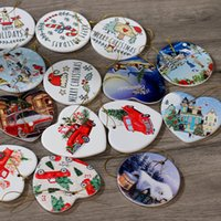 Fashion 3 Inch Sublimation Blank Ceramic Pendant Christmas Ornament Heat Transfer Printing DIY Home Decor Tag Blanks Lovers Wedding Birthday Love Star Gifts