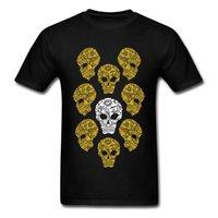 CCCCSPORT2018 Yeni Erkekler T Gömlek 3D Altın Kafatası Grupları T-Shirt Yaz Baskılı Yaz Erkek En T-Shirt Yürüyüş Ölüm Kafatası Tshirt Siyah