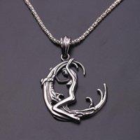 Лунная богиня Wicca Pentagram Magic Amulet Talisman мужчины кулон ожерелье женщины тибетские винтажные ювелирные украшения