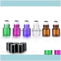Packing Office School Business & Industrialwholesale 1Ml 2Ml Metal Roller For Essential Oils Mini Glass Roll On Bottles With Black Lid Sn125