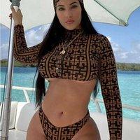 Swimwear 3 peças Sunkini Set Geometric Imprimir Bikini Plus Size Mulheres Bandana Zipper Swimwear Split Bathing Suit Swimsuit XL