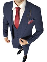 Costumes pour hommes Blazers Soloverress Business Supply Support Gentleman 3 pièces Pinstripe Meeting Customization (Blazer + Vest + Pantalon)