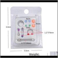 Çiviler Unisex Akrilik Değiştirilebilir Burun Halkası Kaş Çiviler Dil Pin Kartı Timsili Paslanmaz Çelik Belly Button Yüzükler Vücut Piercing J WKQY5