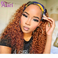 Headband Wig Human Hair Brazilian Scarf Wigs for Black Women No Glue Water Wave Human Hair Wigs 180% Density Curly Headband Wig