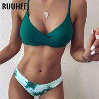 Ruhee Women Купальник Push Up Solid Swimwear High RUT Цветочный купальный костюм с мягким бикини 210625